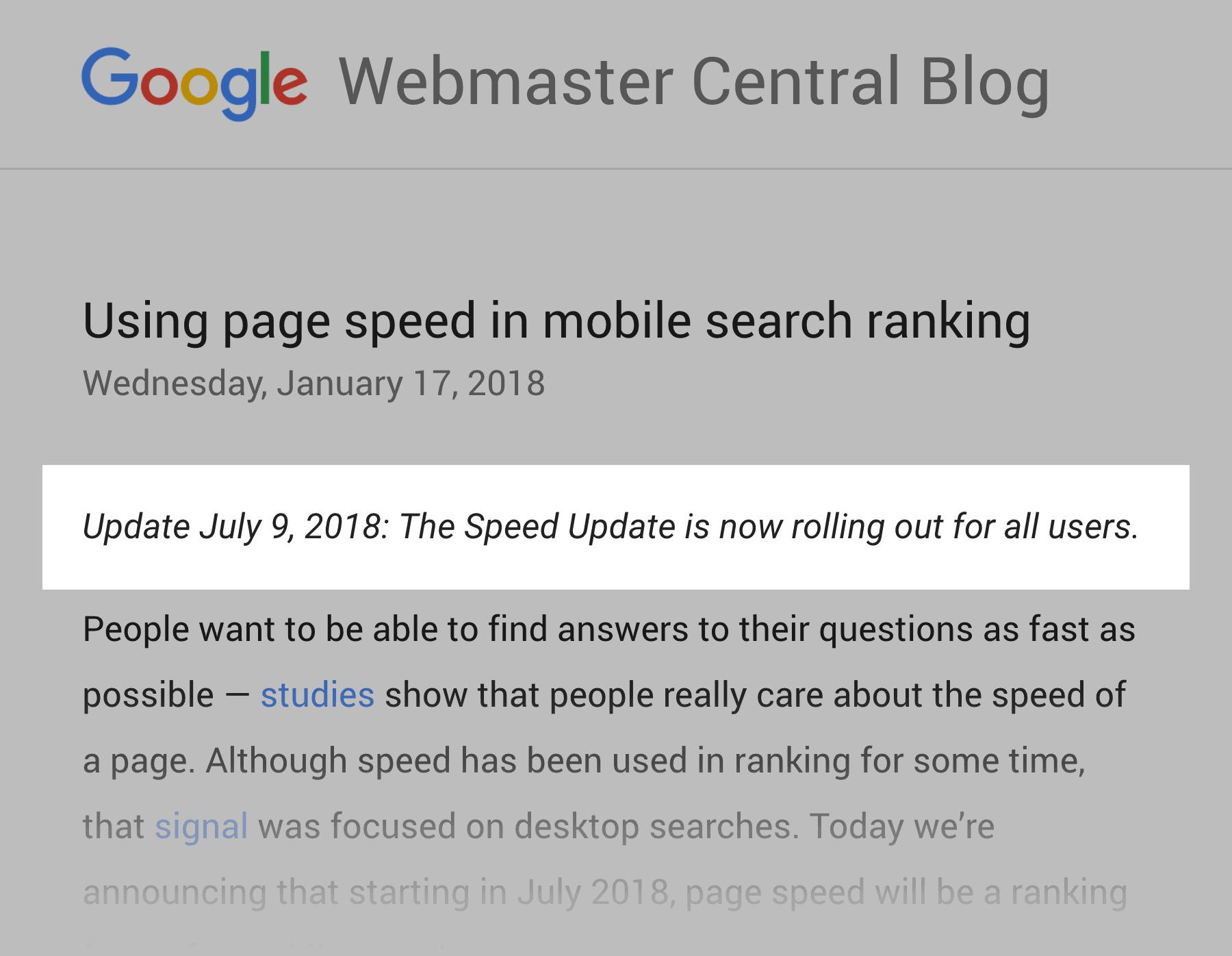 Site speed update, 2018