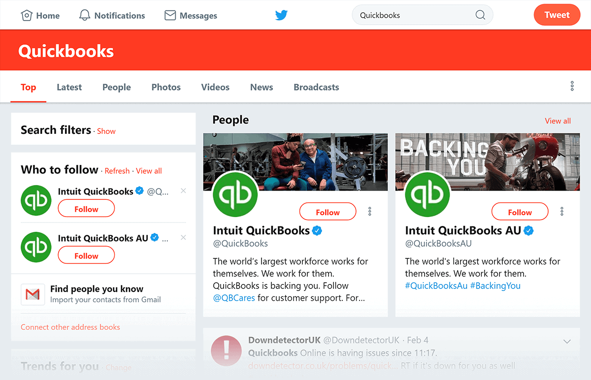 Twitter search Quickbooks