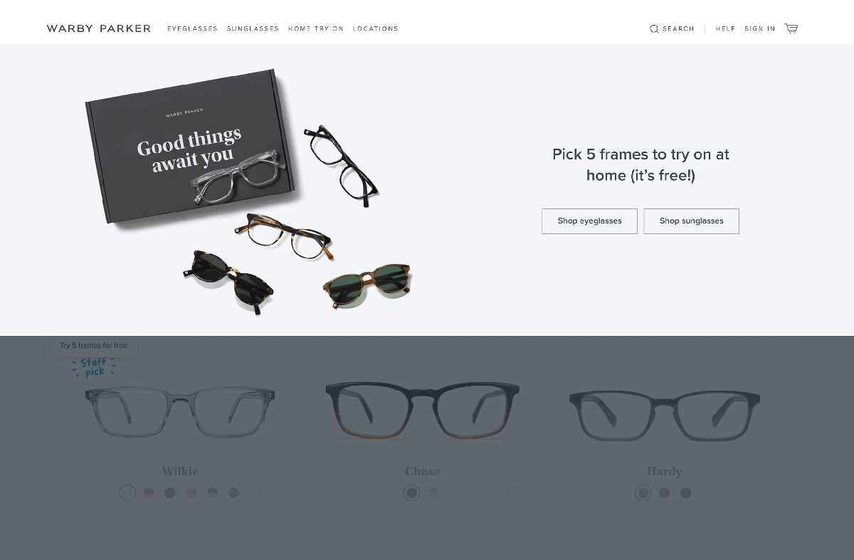 Warby Parker – Home try