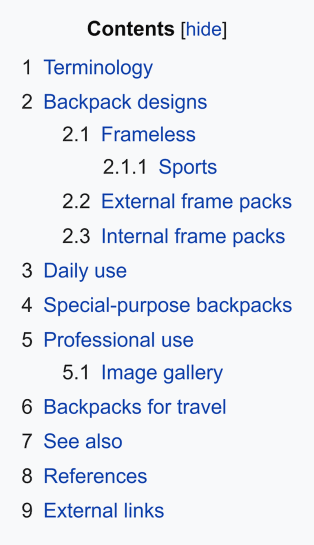 Wikipedia – Backpack – Contents box