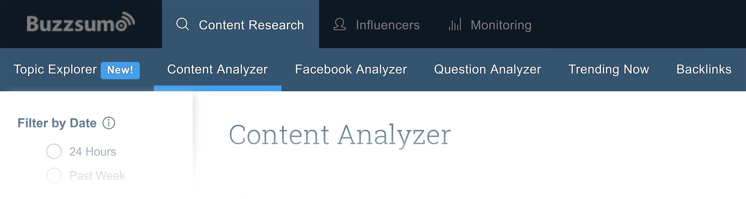 BuzzSumo - menu de pesquisa de conteúdo