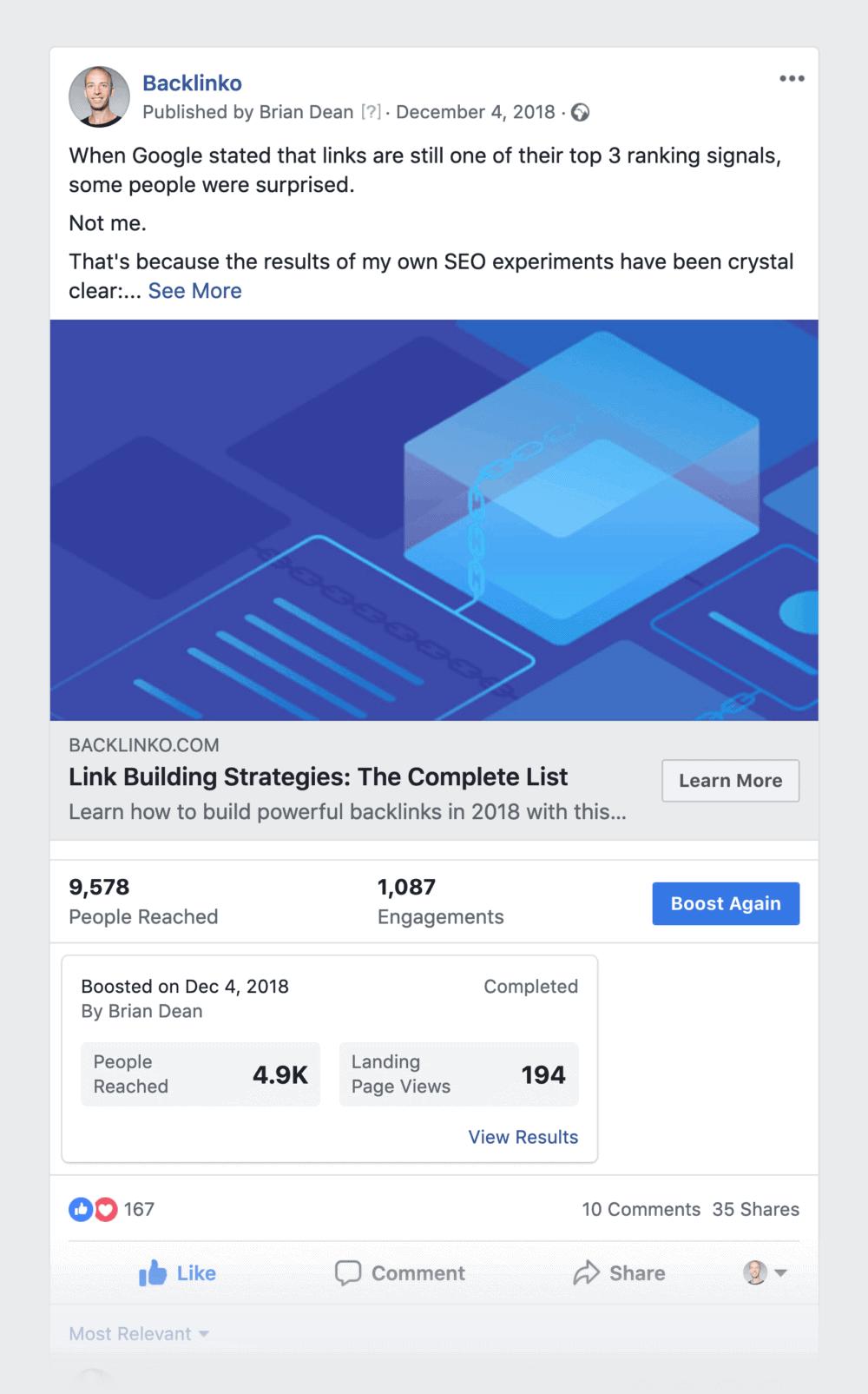 Facebook post – Boost