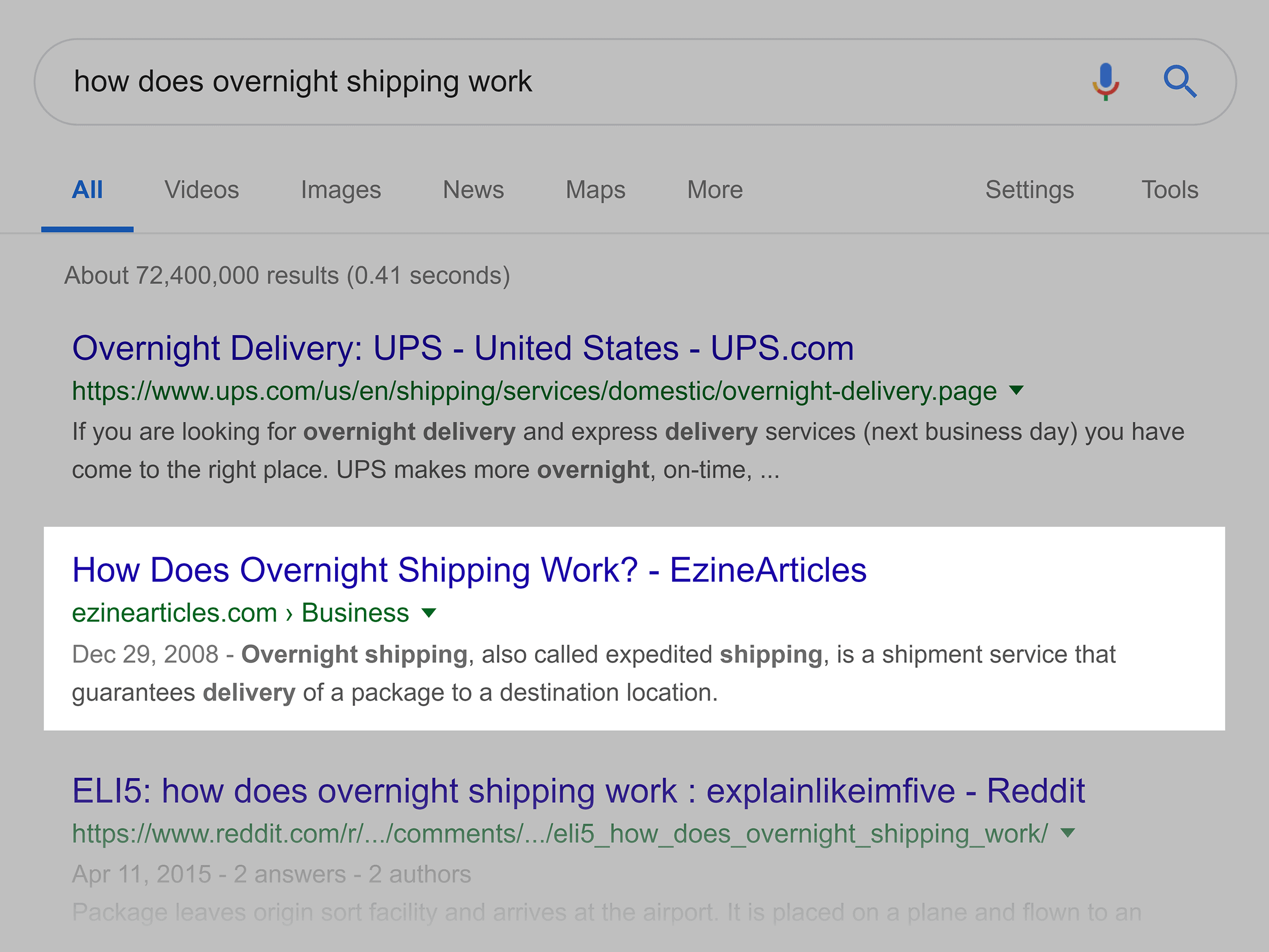 """Google search – """"how does overnight shipping work"""""""