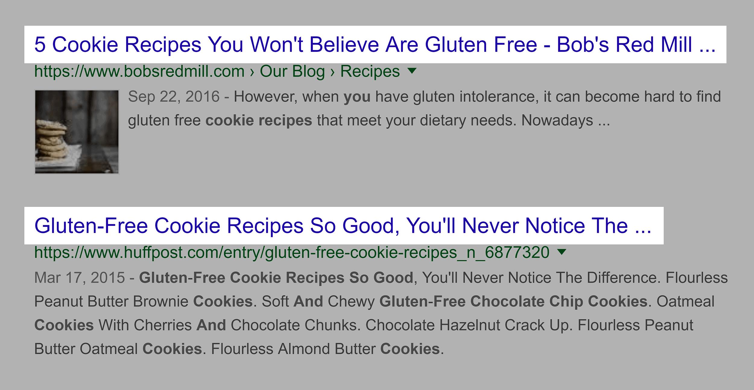 Google search – Titles, similar