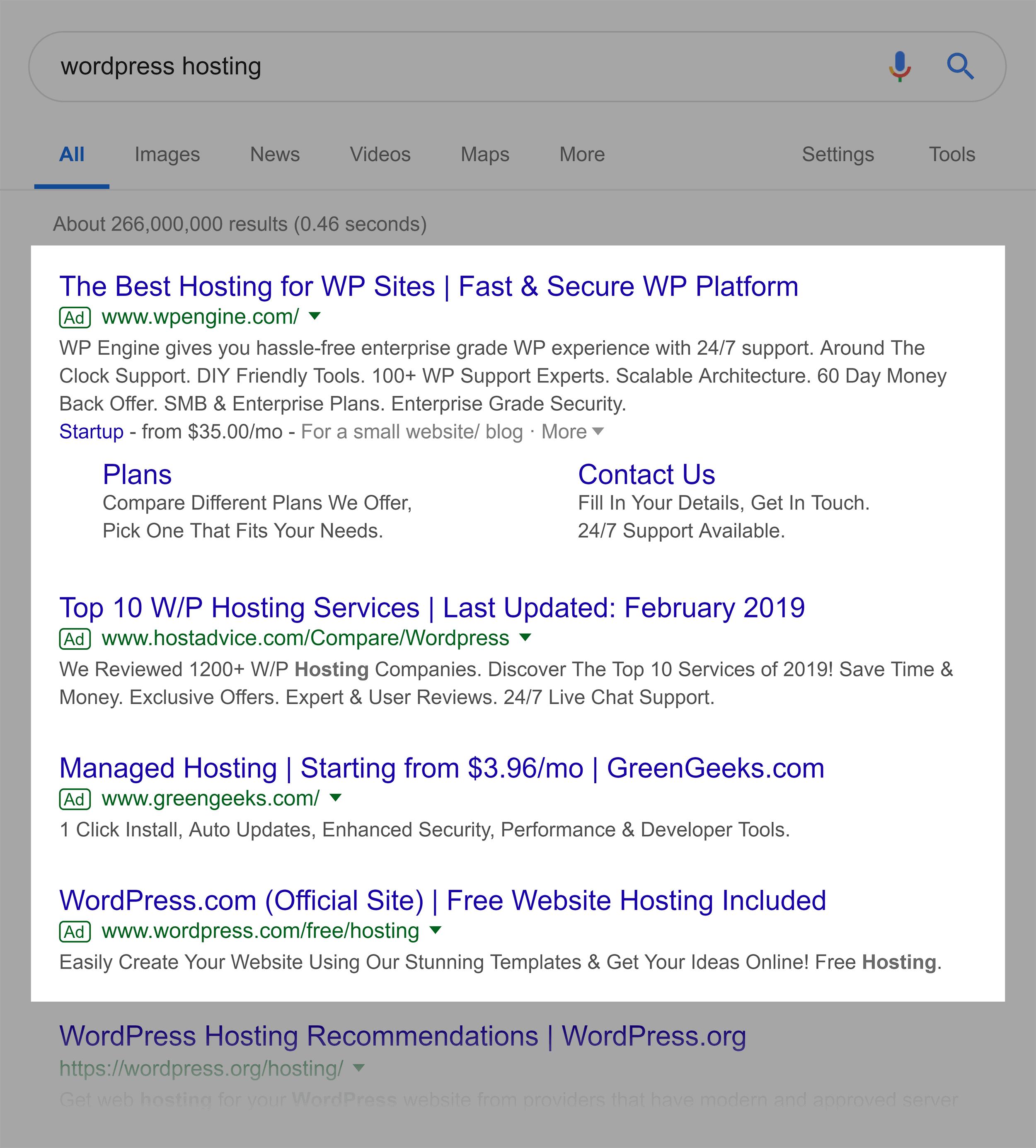 "Google search – ""wordpress hosting"""