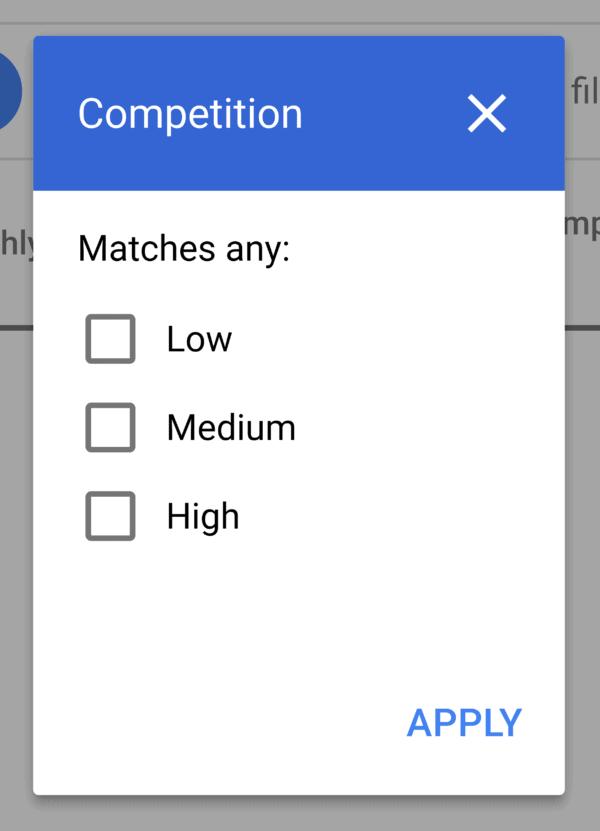 Keyword Planner – Filter competition