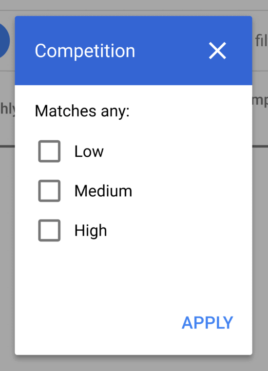 Keyword Planner – Filter – Competition