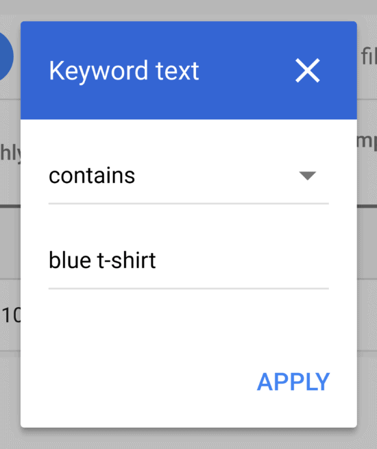 Keyword Planner – Filter text