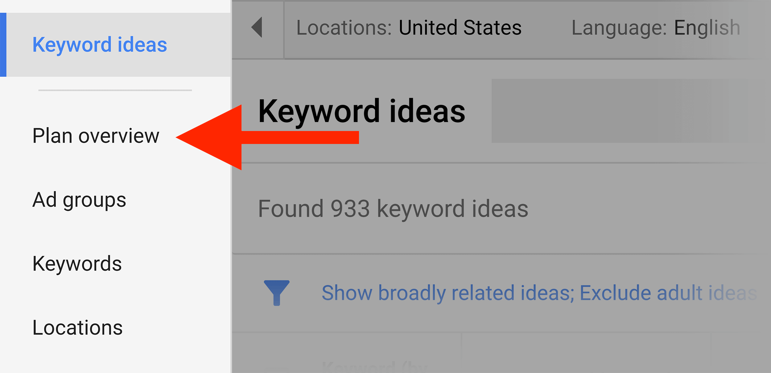 Keyword Planner – Plan overview