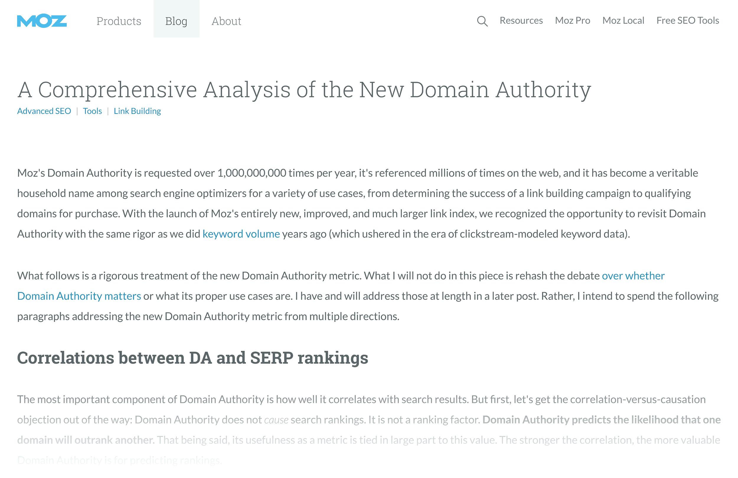 Moz – Domain Authority