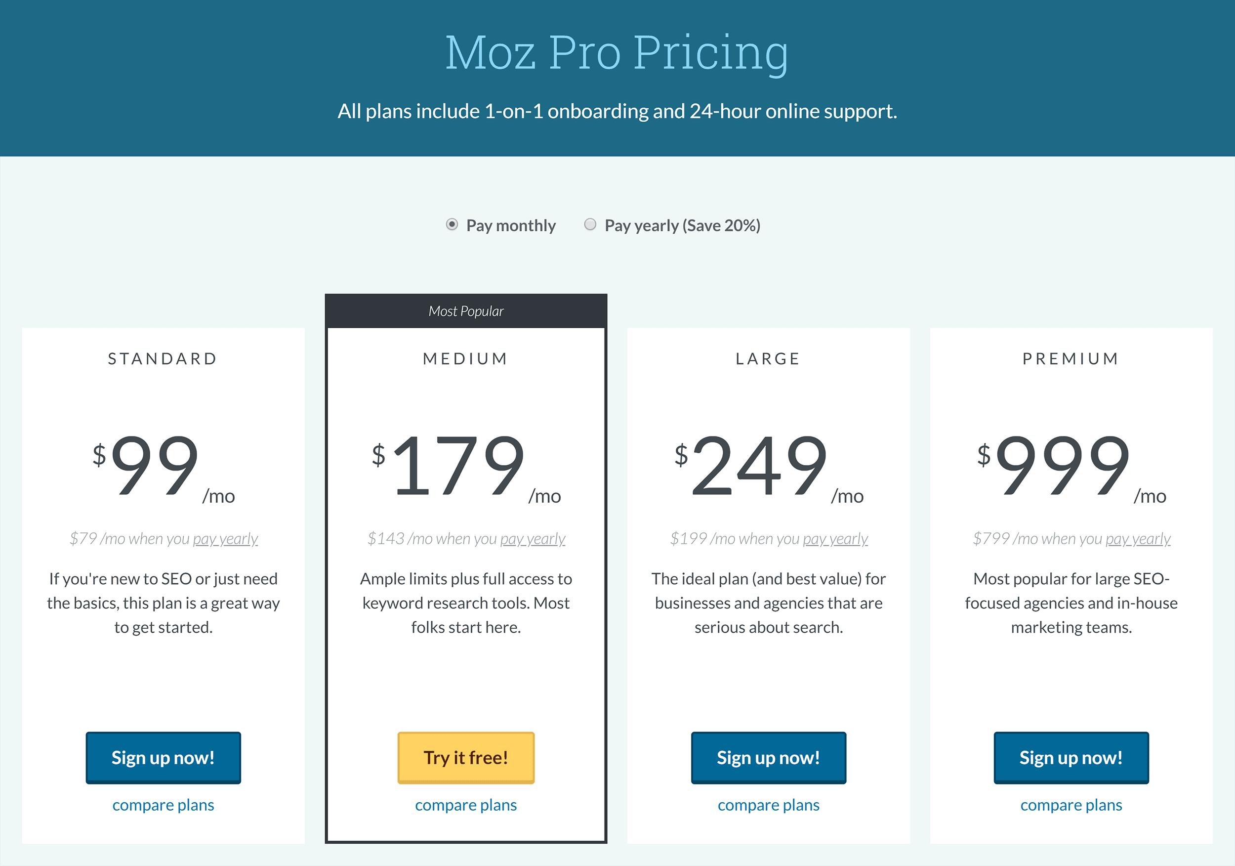 Moz Pro – Pricing