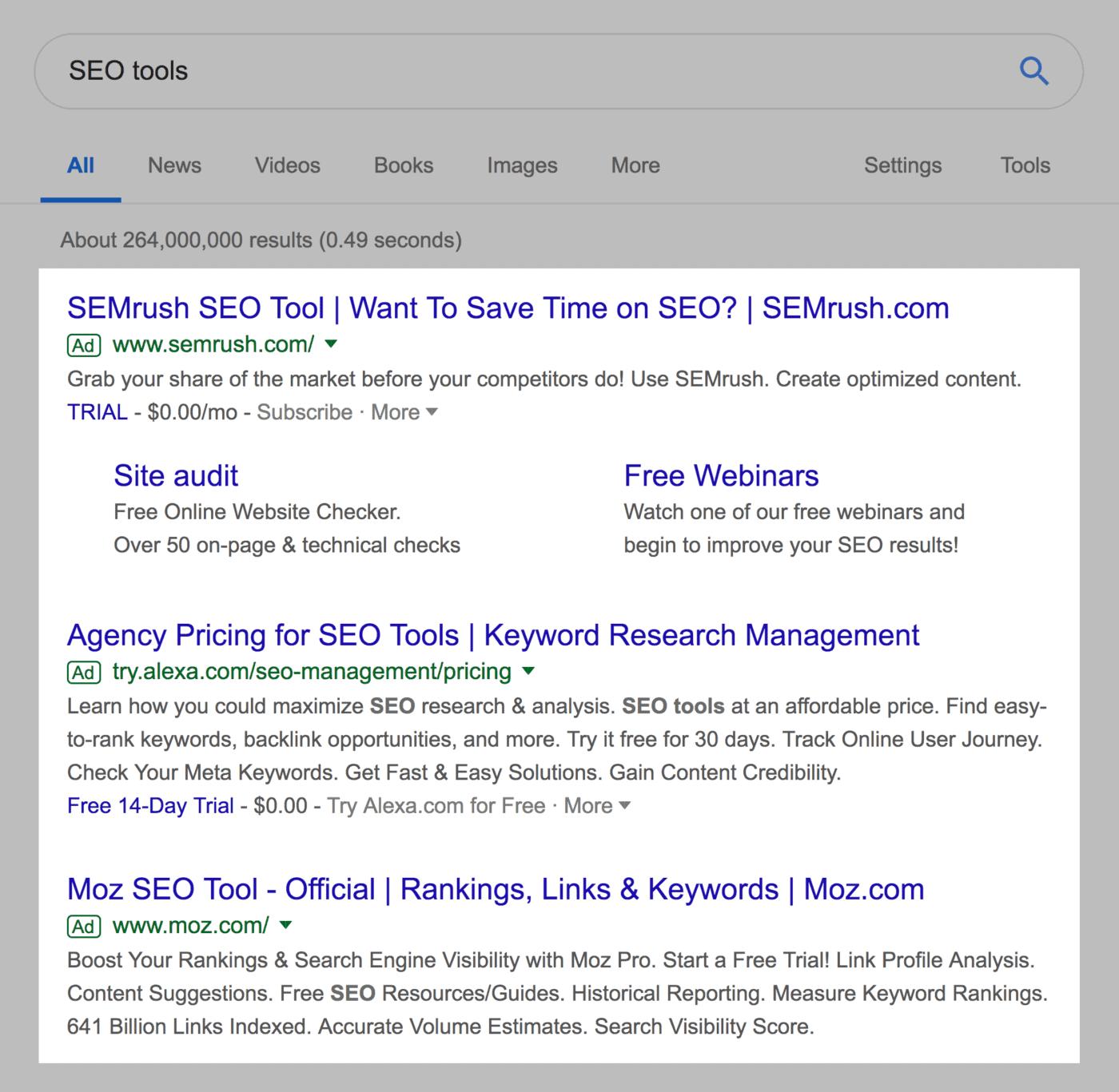 """""""SEO tools"""" – Google Ads"""