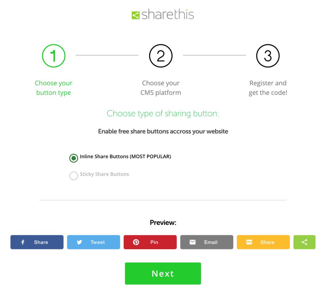 Sharethis - botões sociais