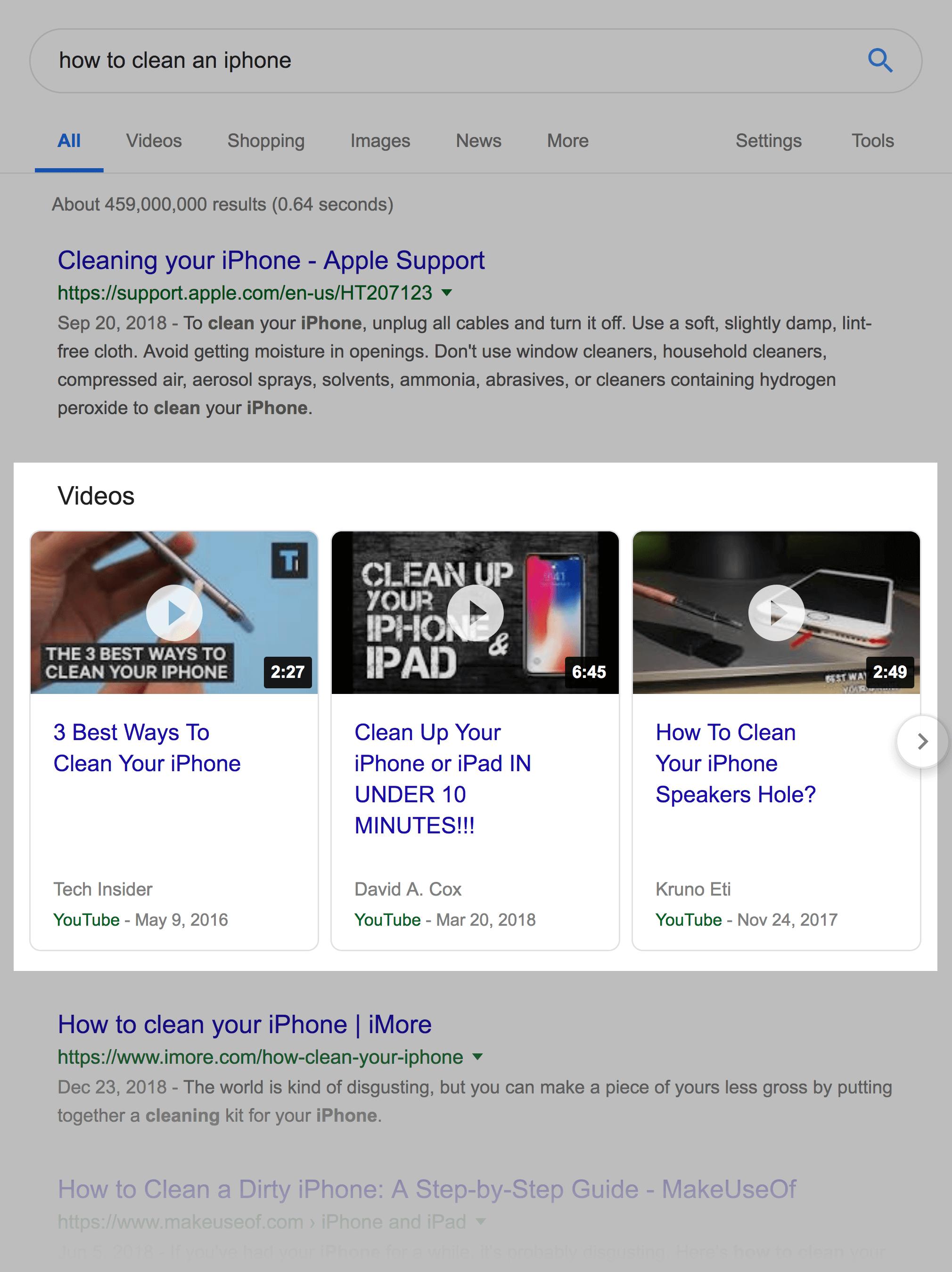 Video keywords