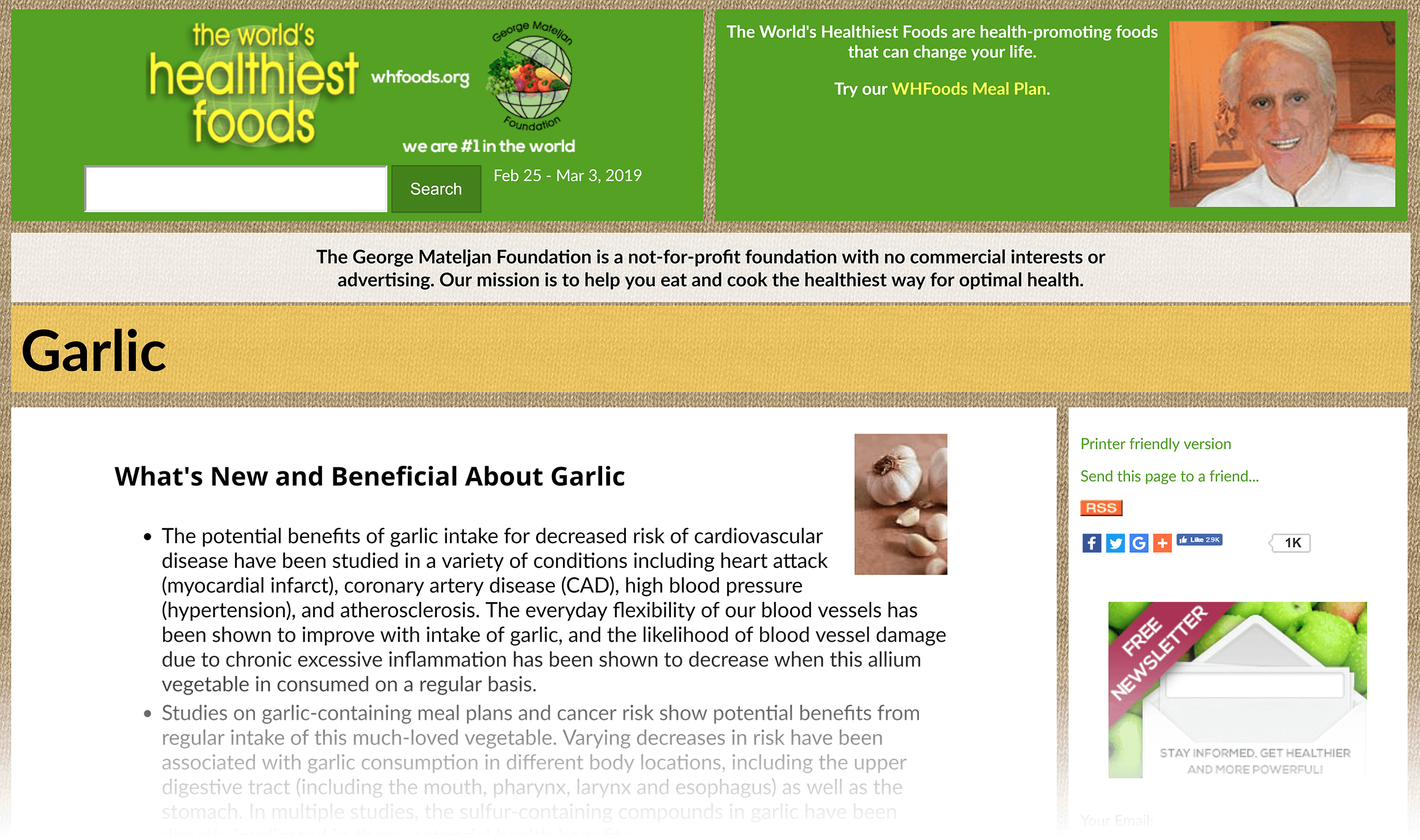 WHFoods – Garlic