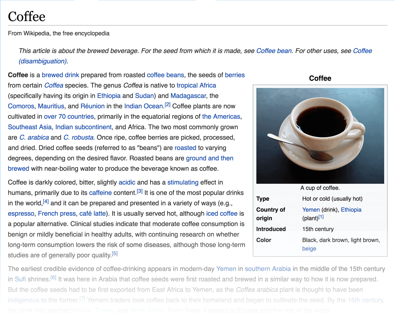 "Wikipedia – ""Coffee"" page"