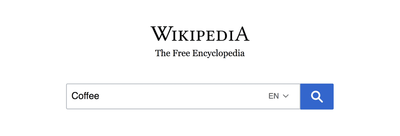 "Wikipedia – ""Coffee"" search"