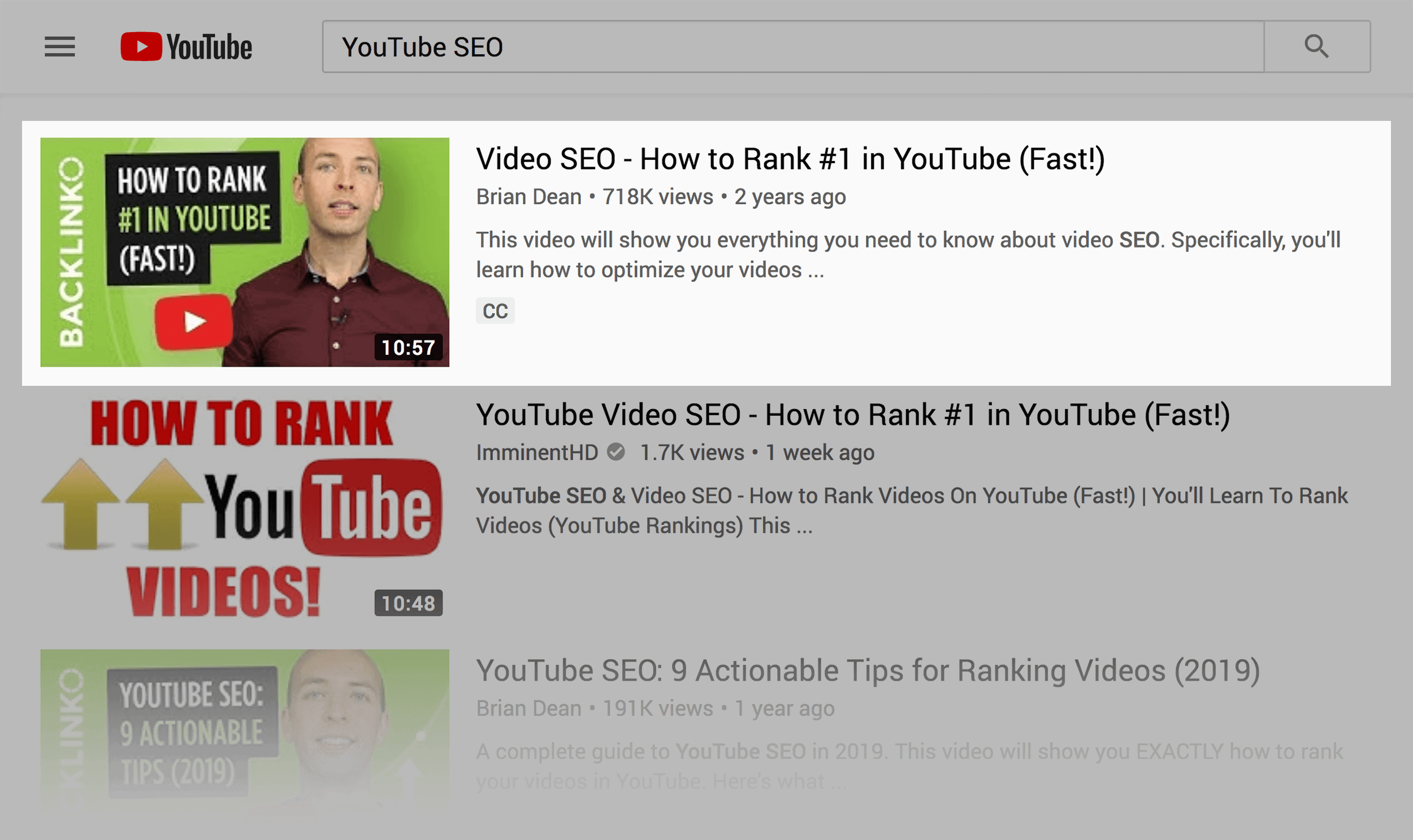 "YouTube SERPs – Backlinko ranking for ""YouTube SEO"""