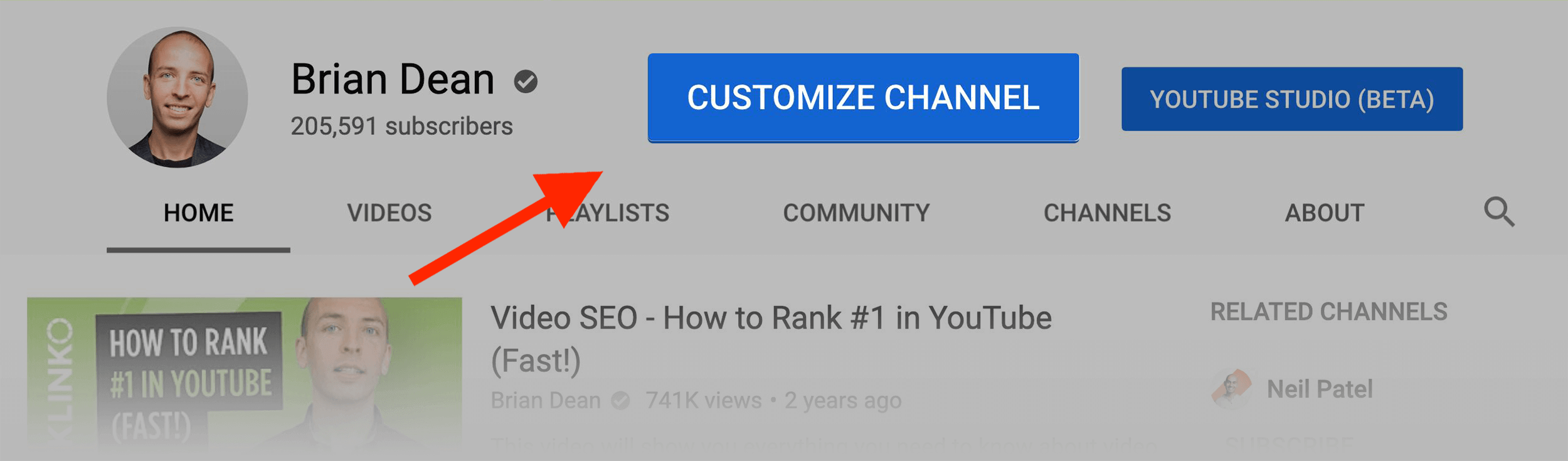 """""""Customize channel"""" button"""