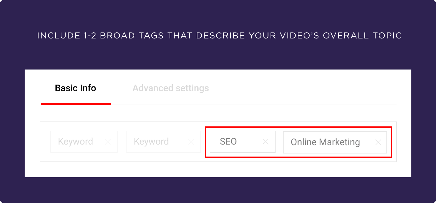 Include 1-2 broad tags that describe your video's overall topic
