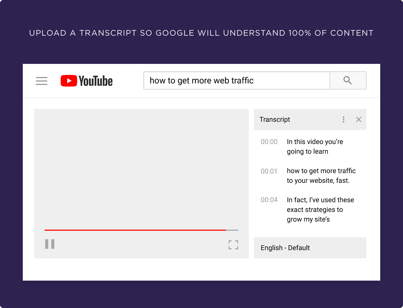 Upload a transcript so Google will understand 100% of content