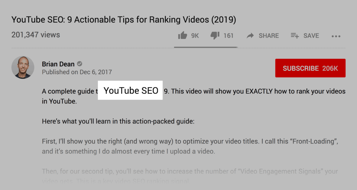 YouTube – Description keyword