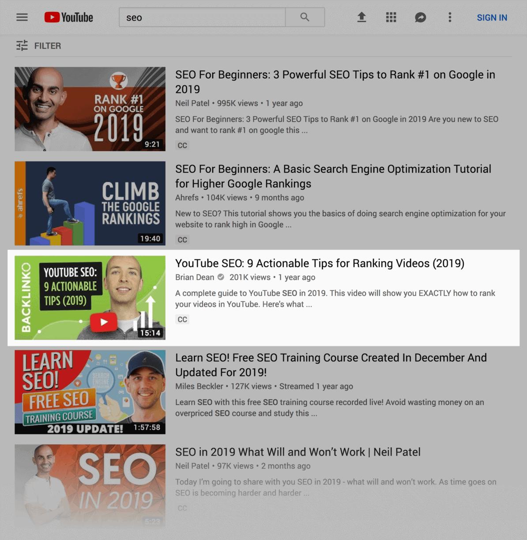 YouTube results – Green thumbnail