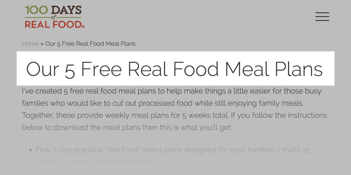 5 real meals