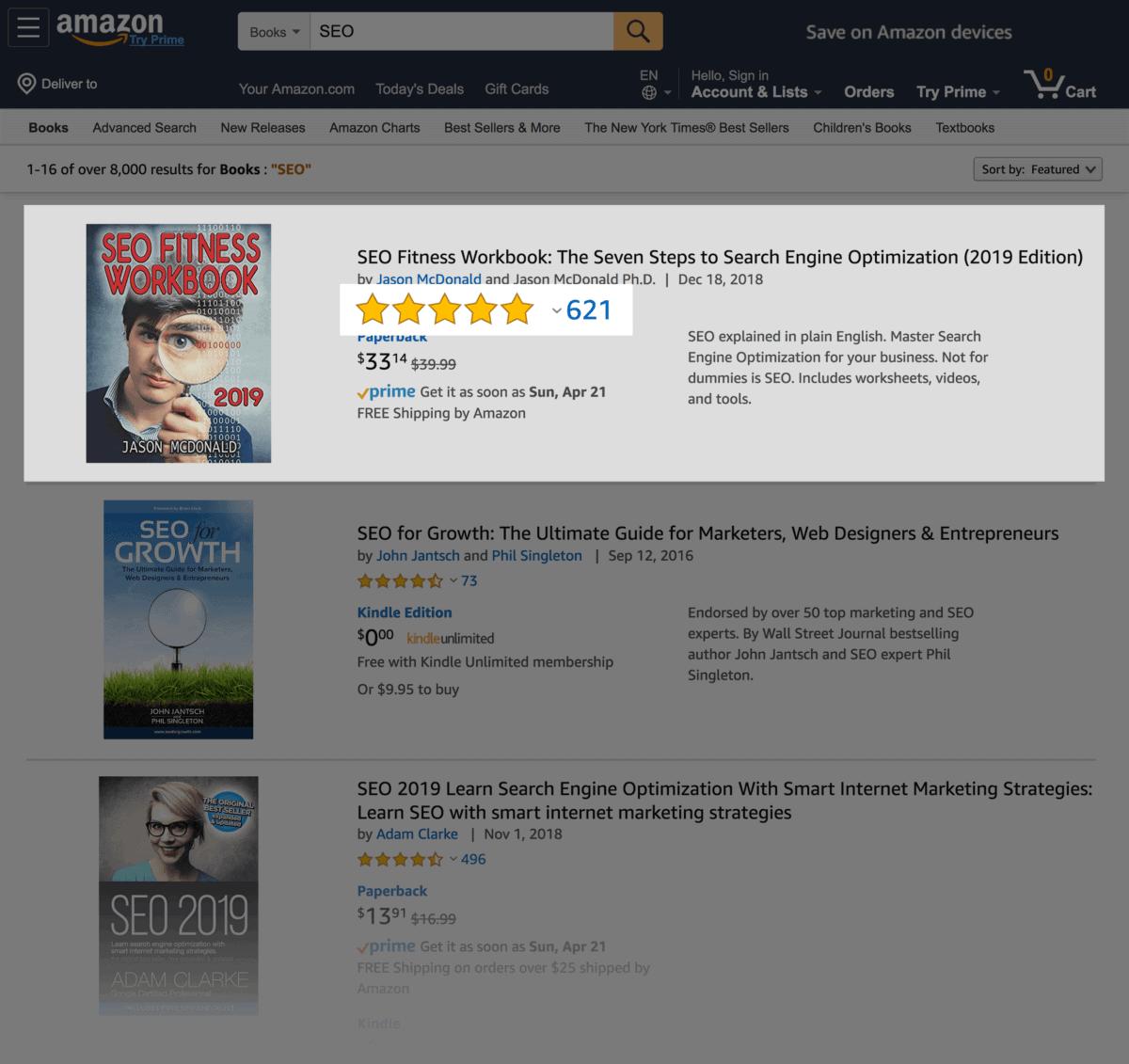 Amazon book rating