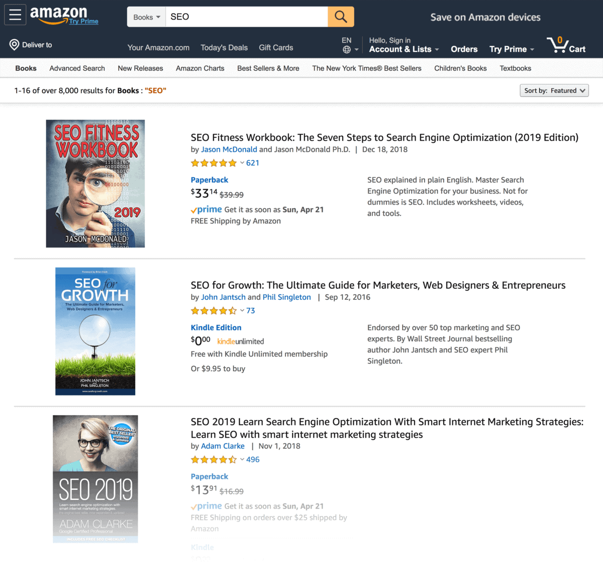 "Amazon ""SEO"" search"