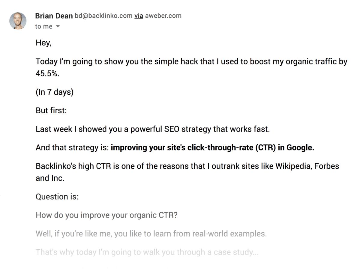 Backlinko email – Straightforward intro