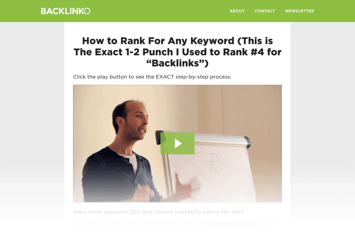 A Backlinko squeeze page offering a step-by-step case study that they can't find anywhere else