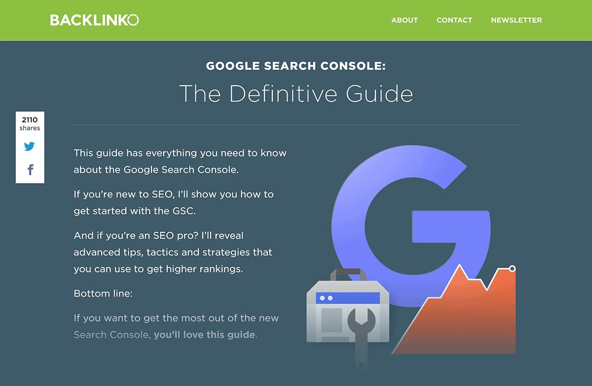 """Backlinko post """"Google Search Console"""""""
