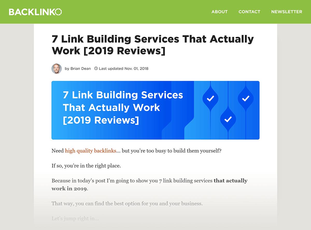 "Backlinko post ""Link Building Services"""