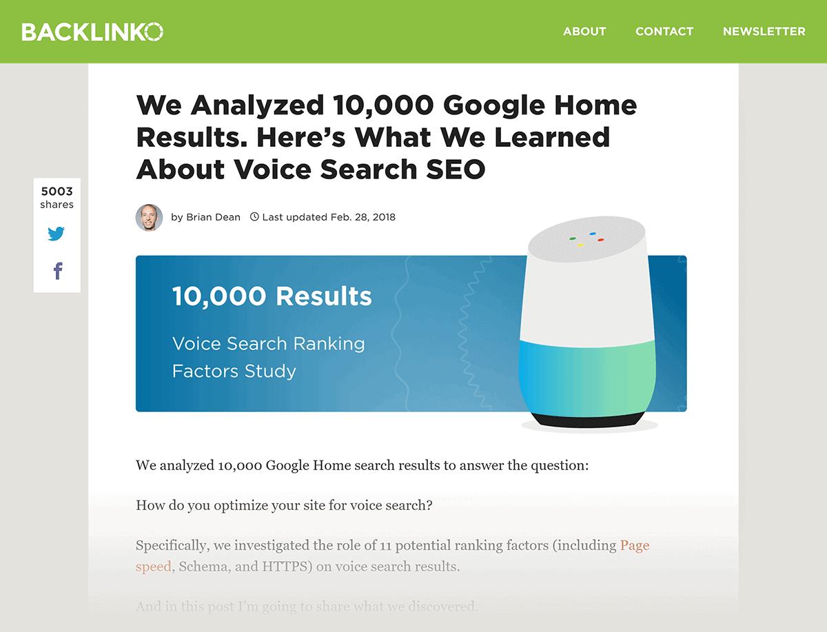 "Backlinko post ""Voice Search SEO"" study"