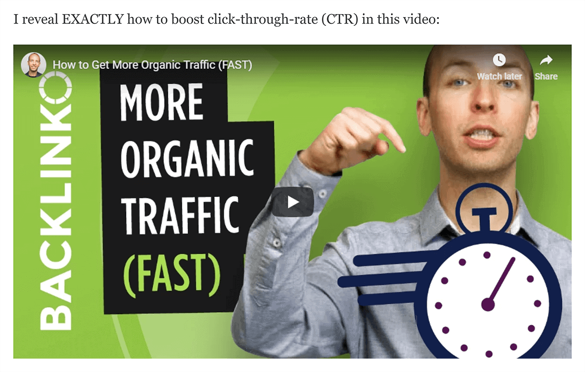 """""""Boost click-through rate"""" topic to video"""
