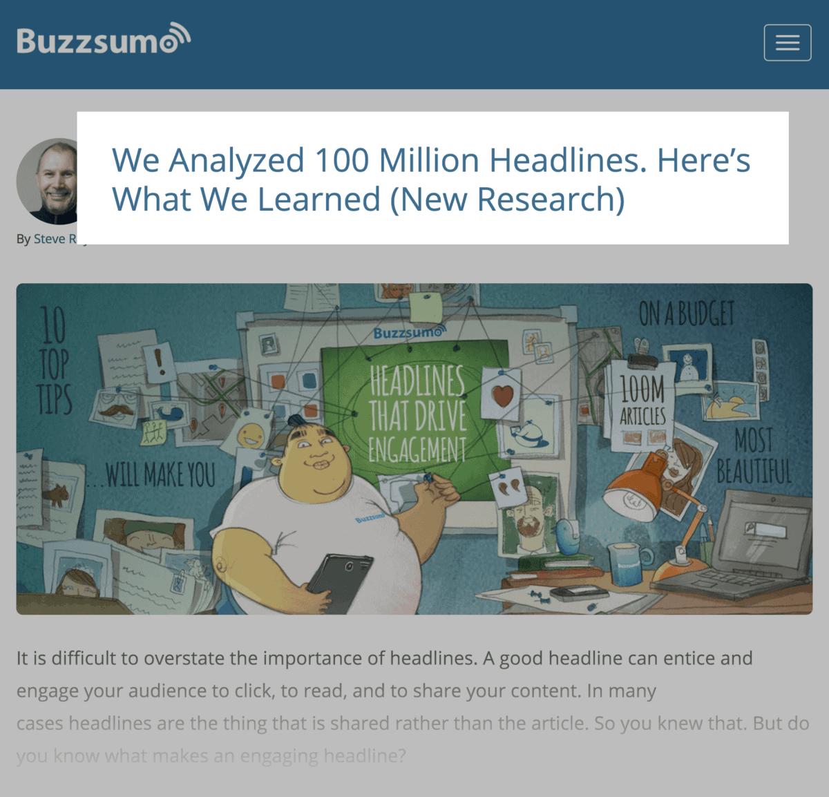 BuzzSumo headline analysis study