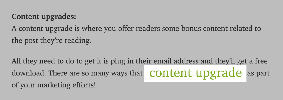 """""""Content upgrade"""" branded name"""