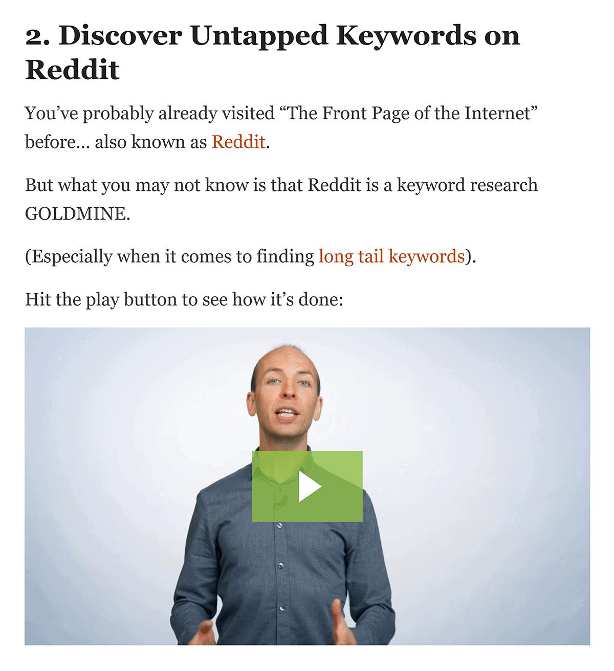 """Discover Untapped Keywords on Reddit"" step to video"