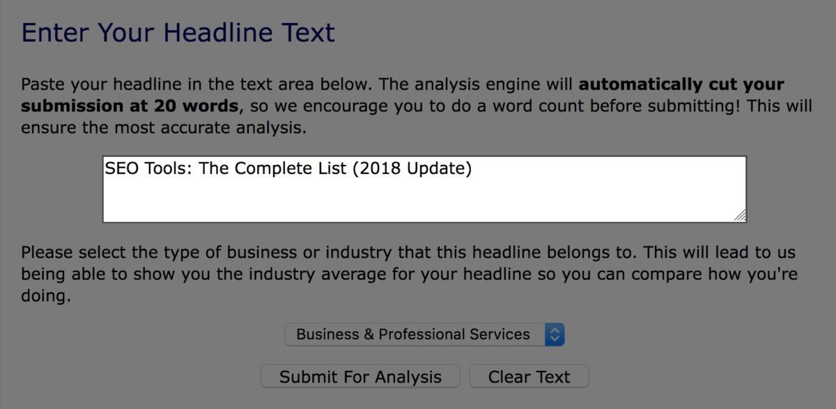 Enter headline text into tool