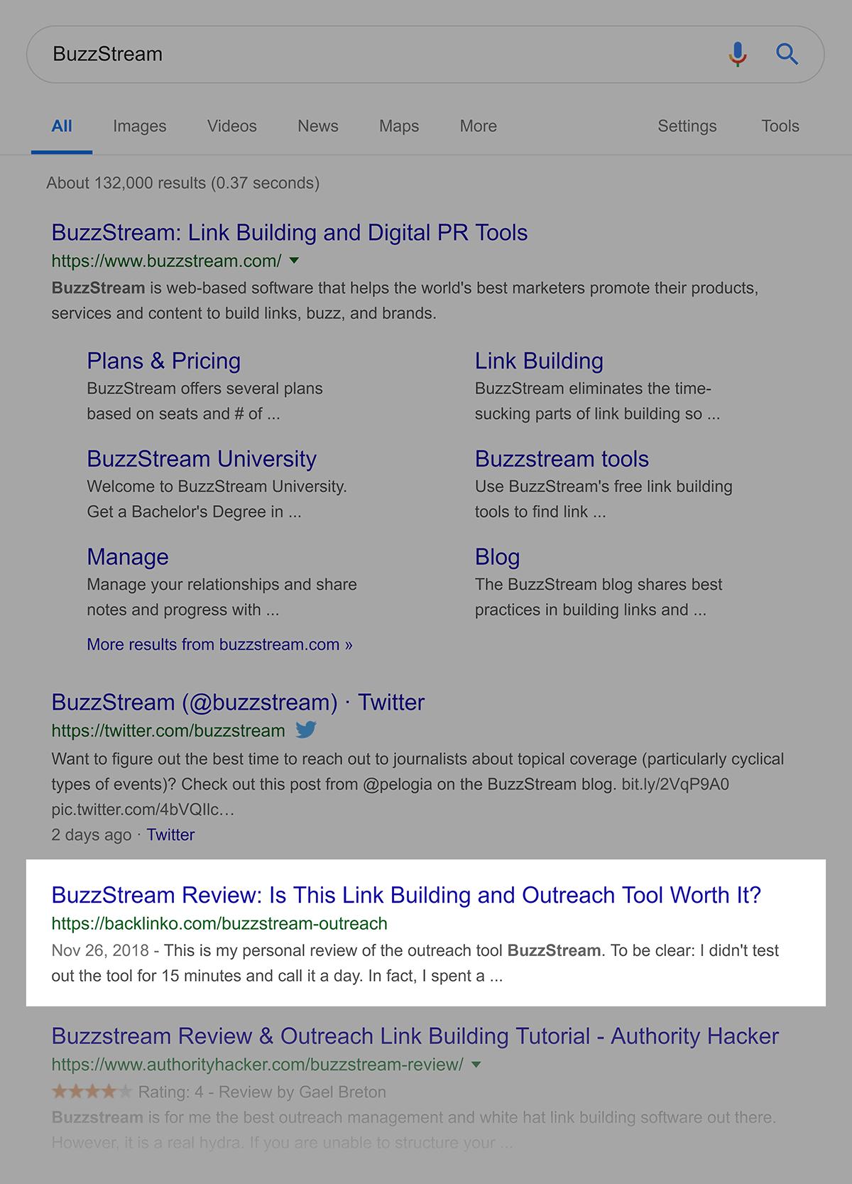 "Google rankings for ""BuzzStream"""