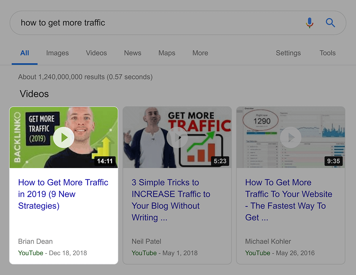 """Google video results for """"how to get more traffic"""""""