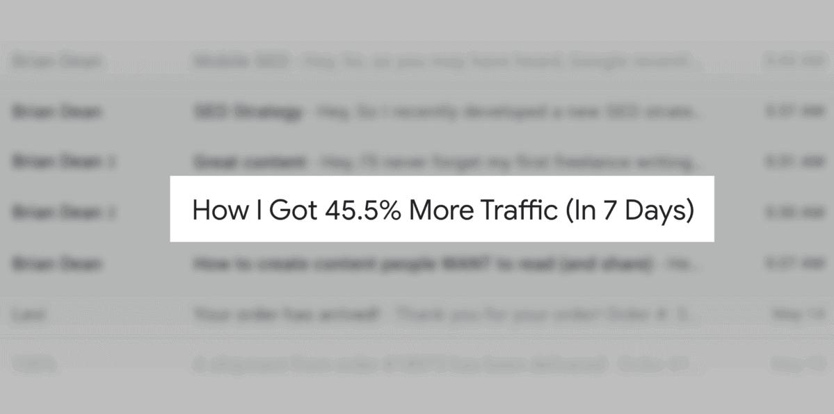 How I got traffic – Subject line