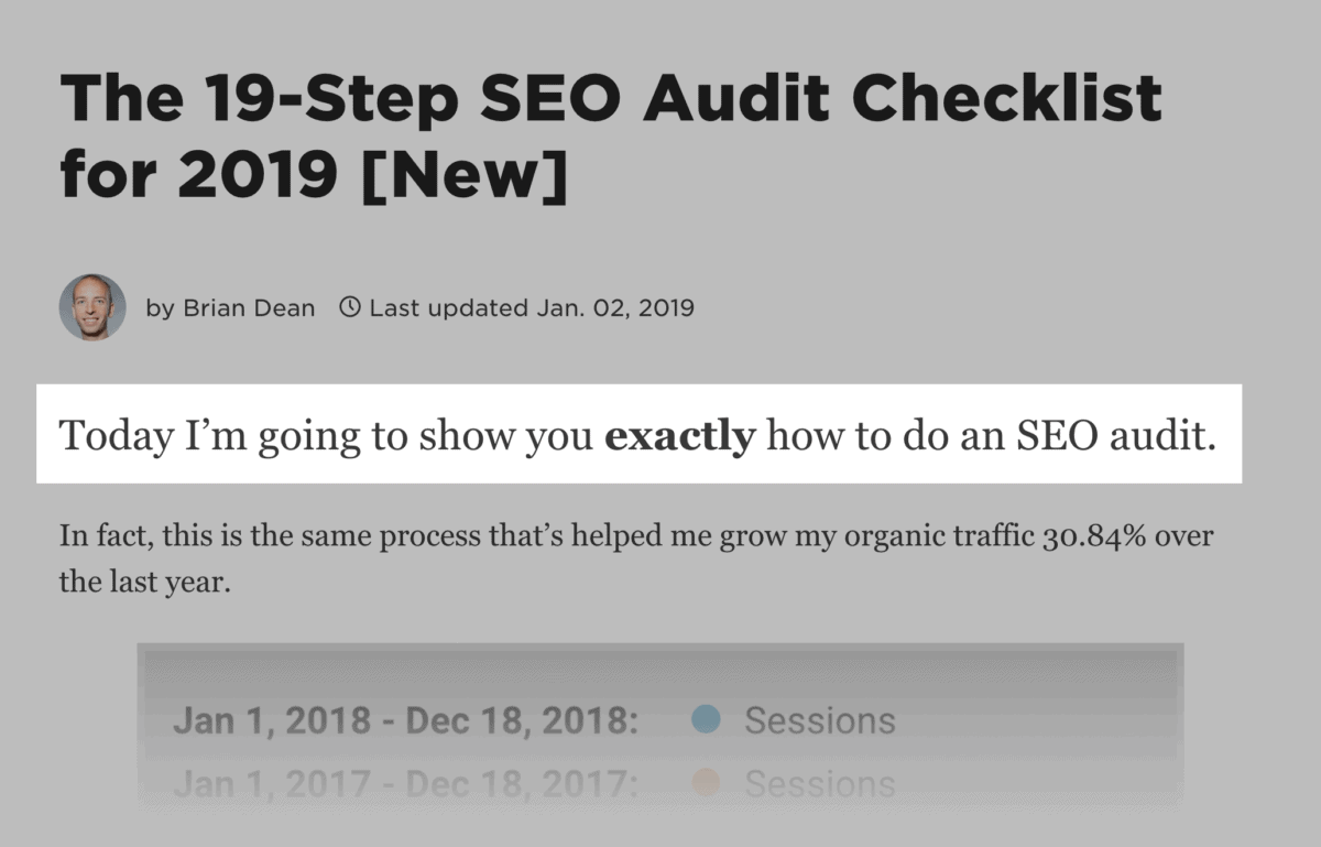 """""""Preview"""" stage, in the SEO Audit post"""
