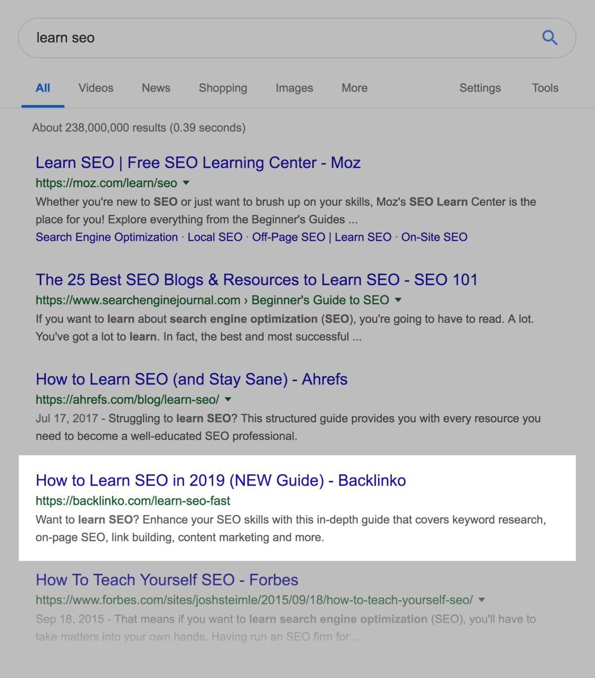 """Backlinko in """"learn seo"""" SERPs"""