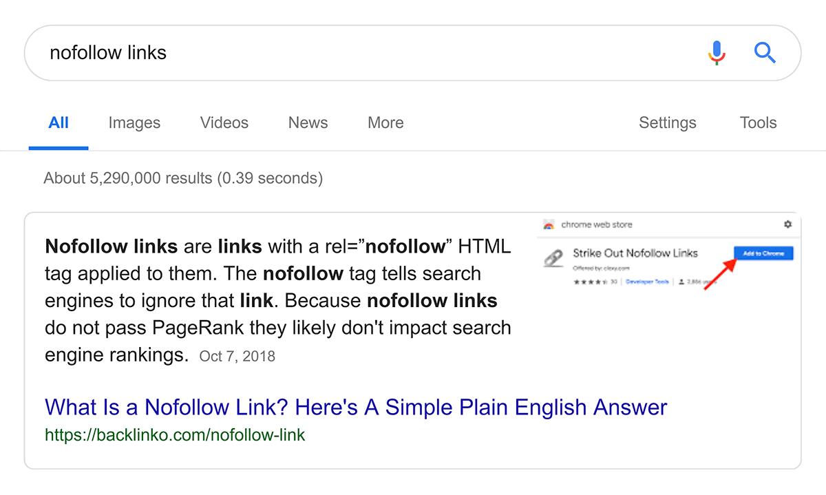 """""""nofollow links"""" Google snippet"""