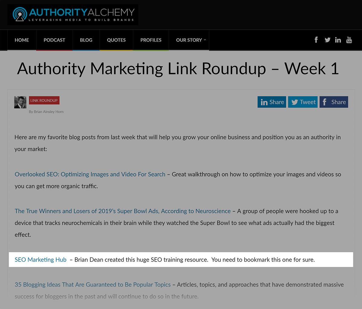 SEO Marketing Hub - Backlink from AuthorityAlchemy's link roundup