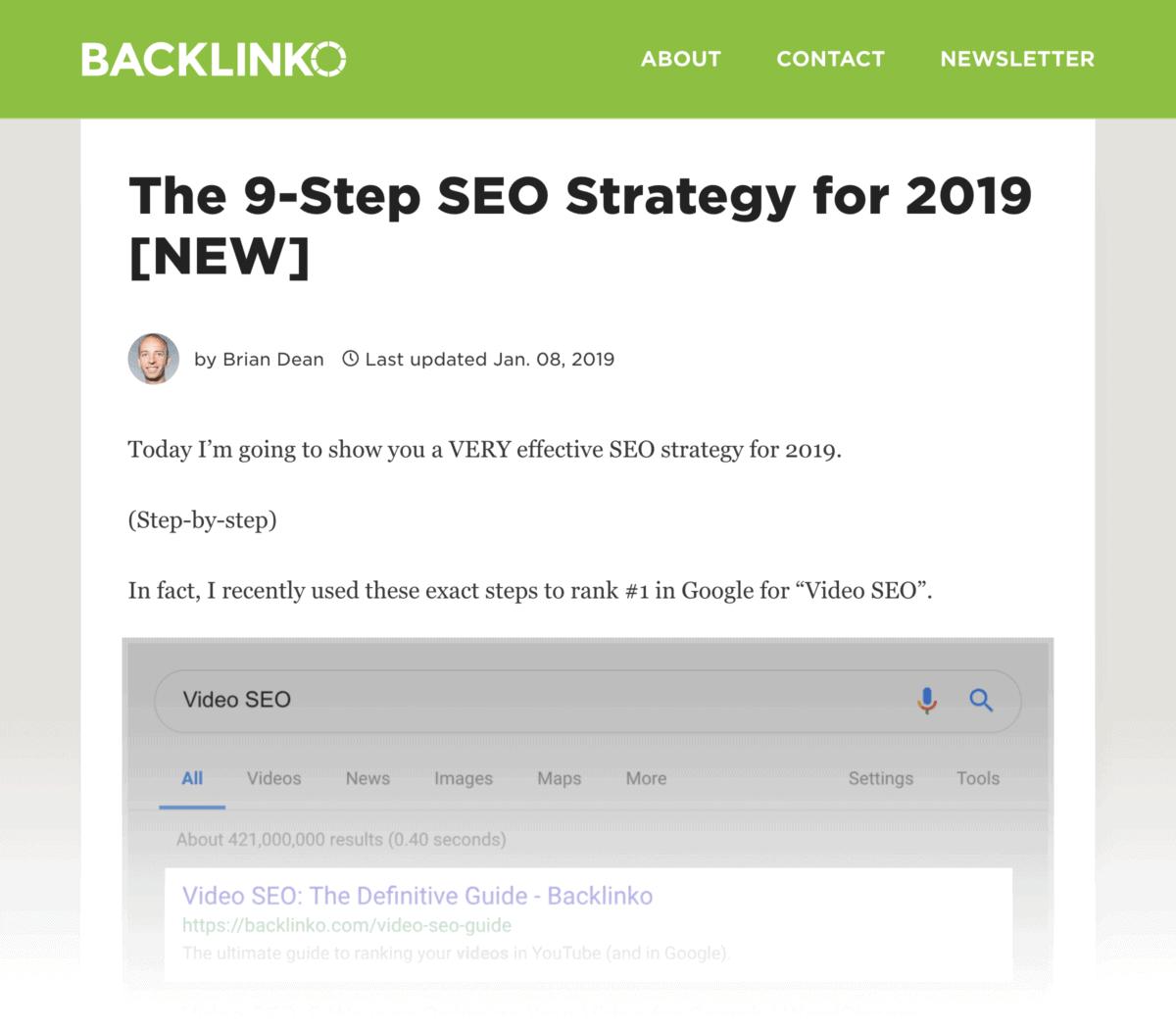 SEO Strategy page