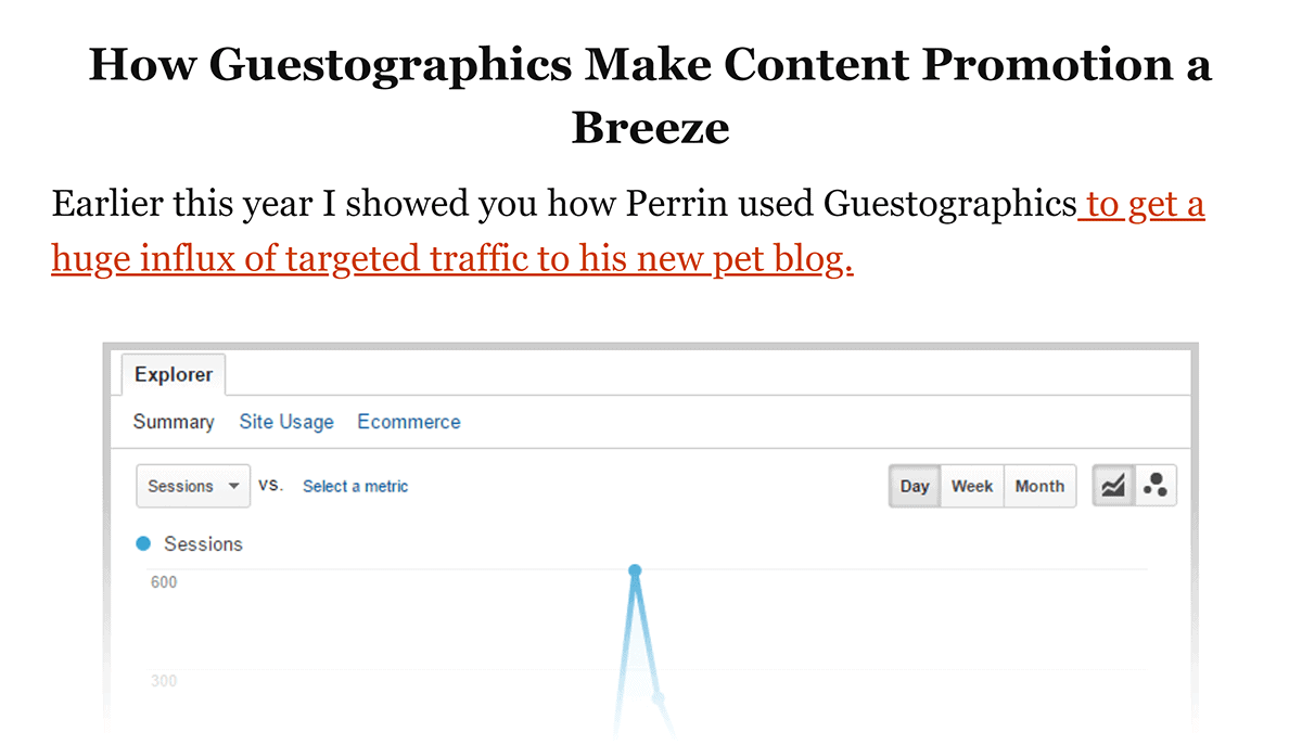 Snippet about Guestographics from SEO Campaign post