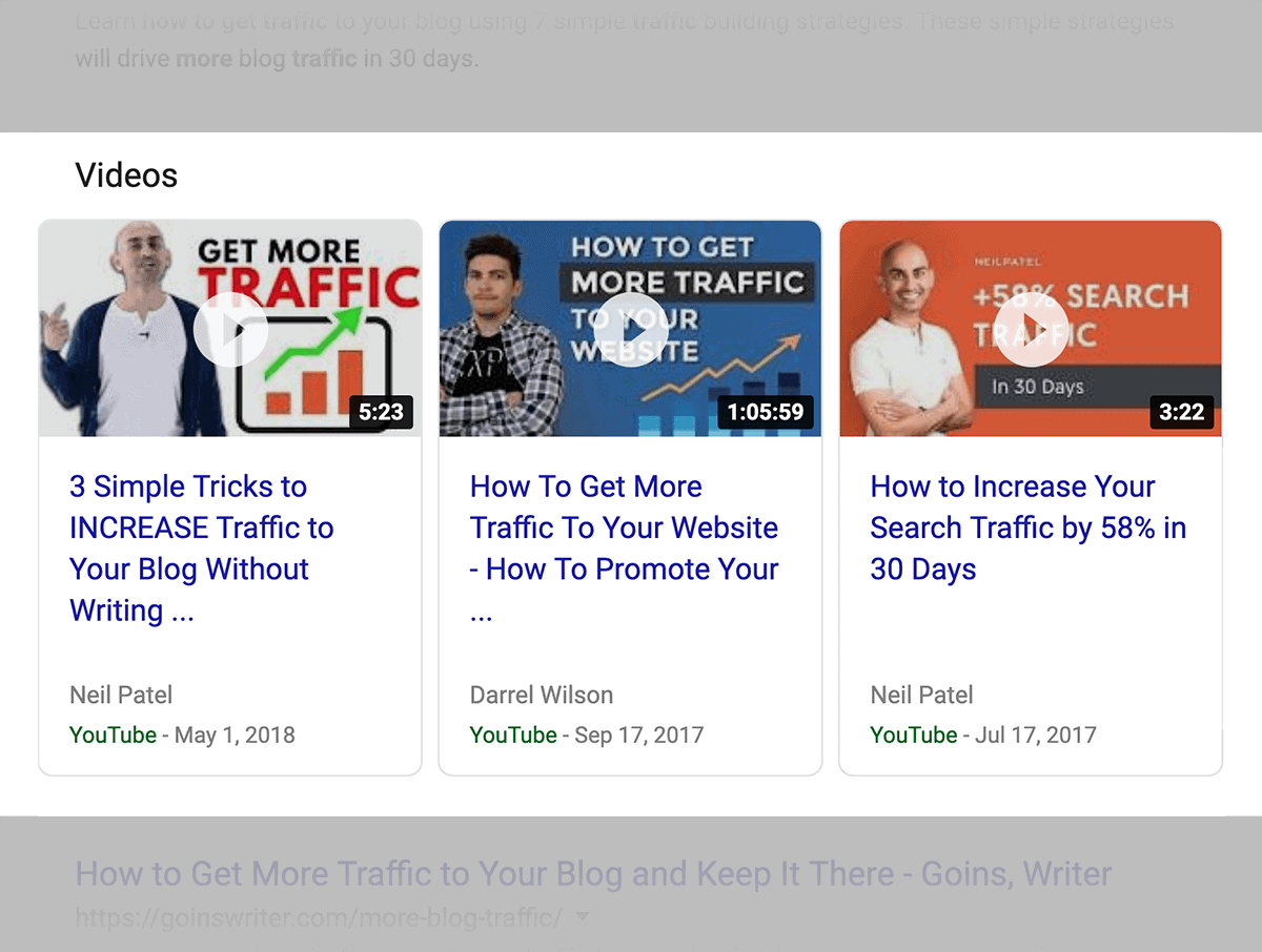 Stuck under video results in Google SERPs